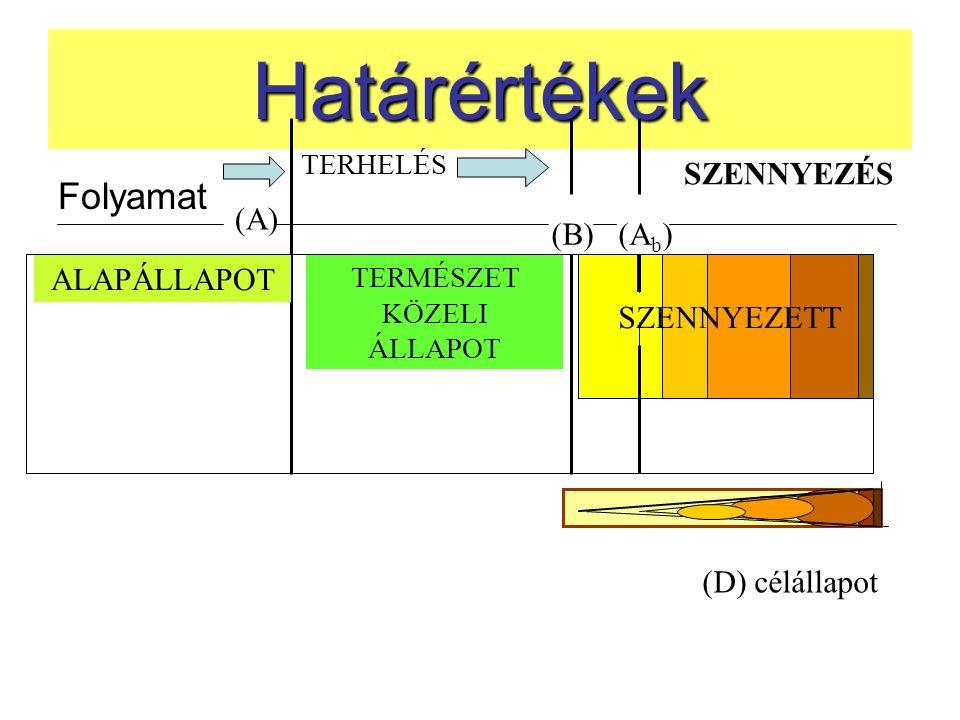 Határértékek Folyamat TERHELÉS SZENNYEZÉS (A) (B) (A b ) ALAPÁLLAPOT TERMÉSZET KÖZELI ÁLLAPOT SZENNYEZETT (D) célállapot