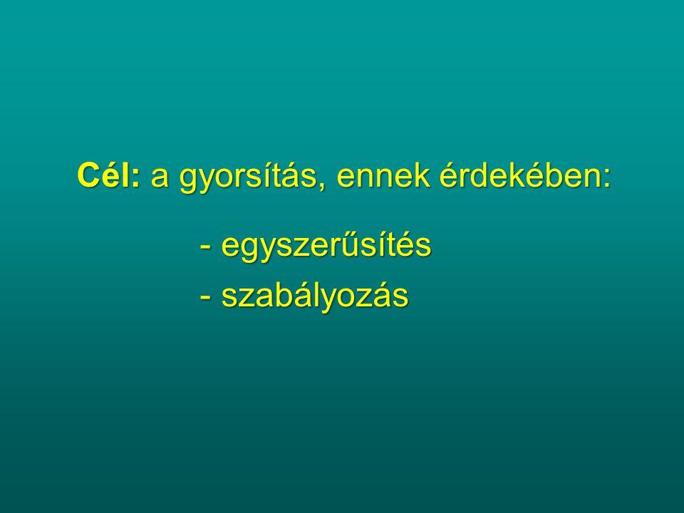 Cél: a gyorsítás, ennek érdekében: - egyszerűsítés - egyszerűsítés - szabályozás - szabályozás