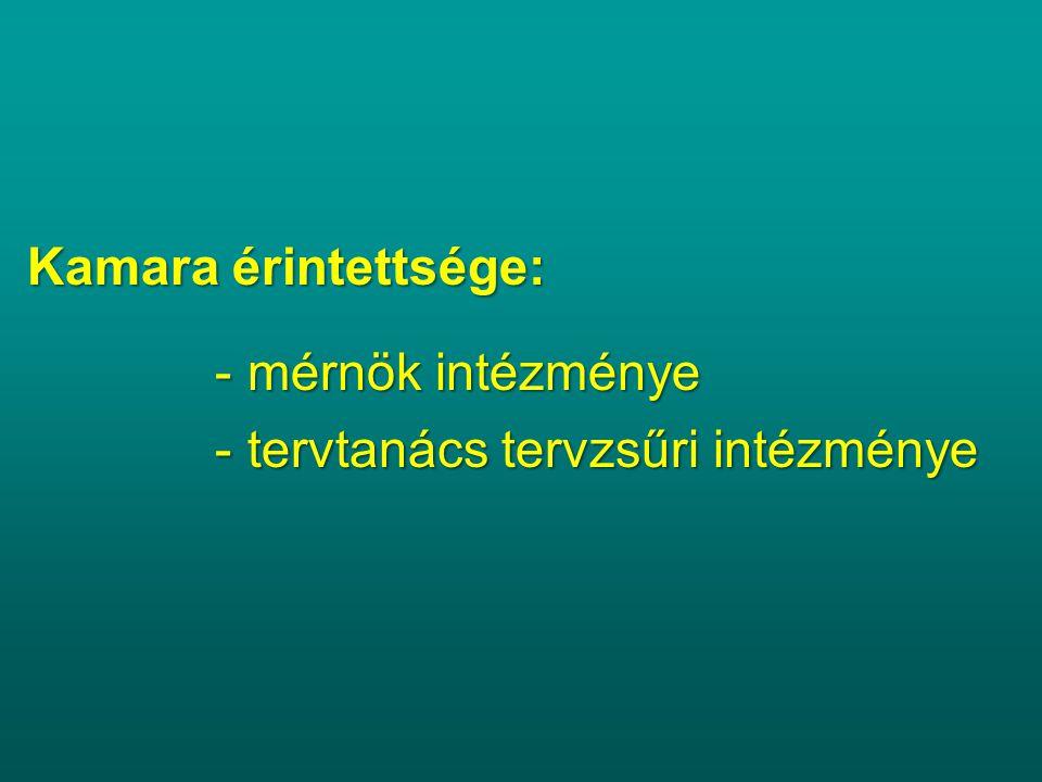 Kamara érintettsége: - mérnök intézménye - mérnök intézménye - tervtanács tervzsűri intézménye - tervtanács tervzsűri intézménye
