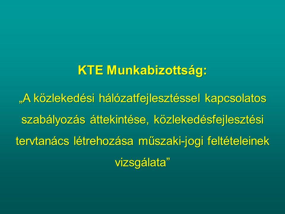 """KTE Munkabizottság: """"A közlekedési hálózatfejlesztéssel kapcsolatos szabályozás áttekintése, közlekedésfejlesztési tervtanács létrehozása műszaki-jogi"""