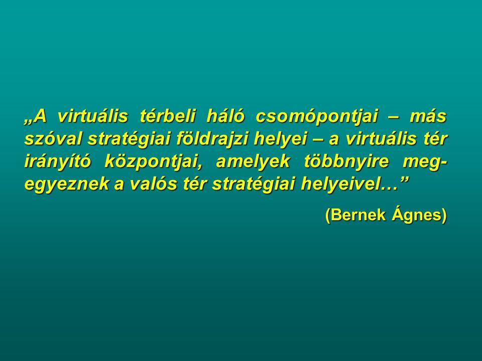 """""""A virtuális térbeli háló csomópontjai – más szóval stratégiai földrajzi helyei – a virtuális tér irányító központjai, amelyek többnyire meg- egyeznek"""