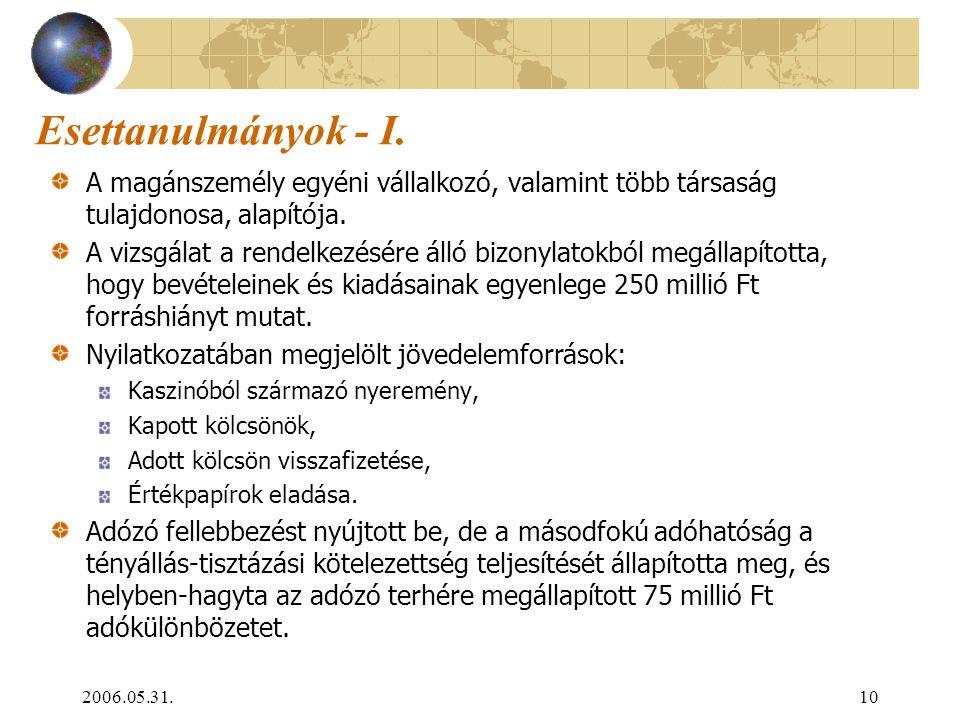 2006.05.31.10 Esettanulmányok - I. A magánszemély egyéni vállalkozó, valamint több társaság tulajdonosa, alapítója. A vizsgálat a rendelkezésére álló