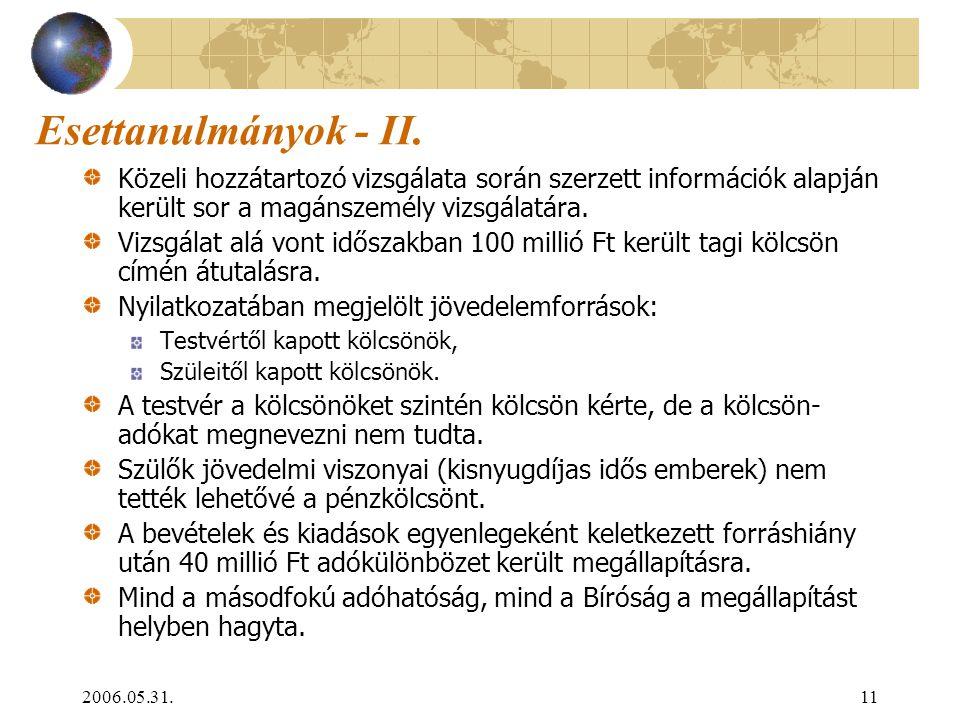 2006.05.31.11 Esettanulmányok - II. Közeli hozzátartozó vizsgálata során szerzett információk alapján került sor a magánszemély vizsgálatára. Vizsgála