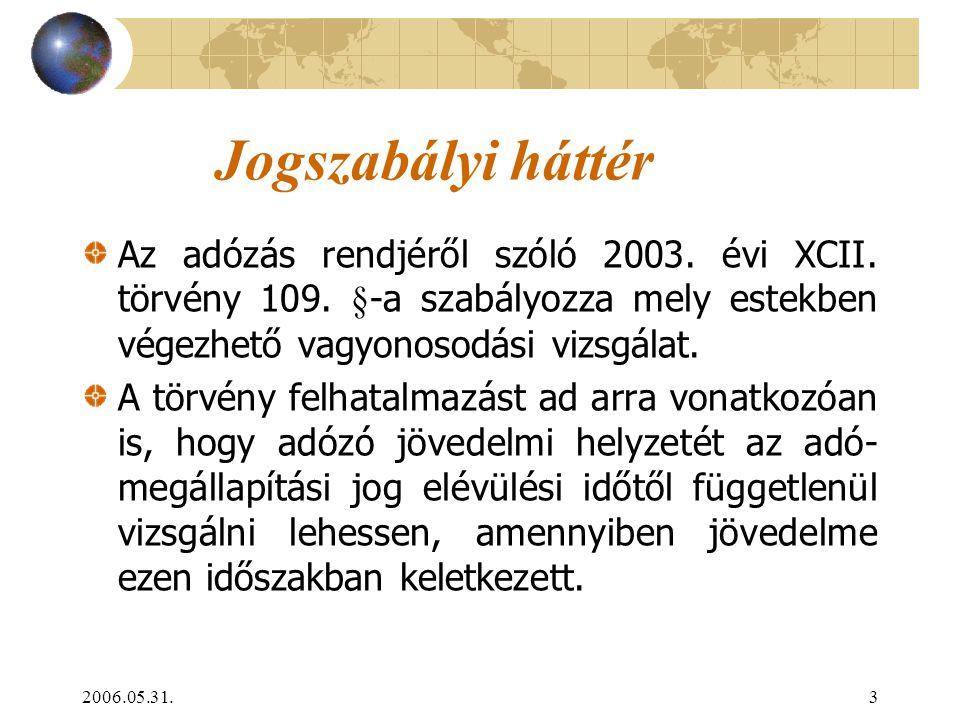2006.05.31.3 Jogszabályi háttér Az adózás rendjéről szóló 2003. évi XCII. törvény 109. §-a szabályozza mely estekben végezhető vagyonosodási vizsgálat