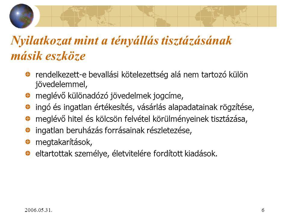 2006.05.31.6 Nyilatkozat mint a tényállás tisztázásának másik eszköze rendelkezett-e bevallási kötelezettség alá nem tartozó külön jövedelemmel, meglé