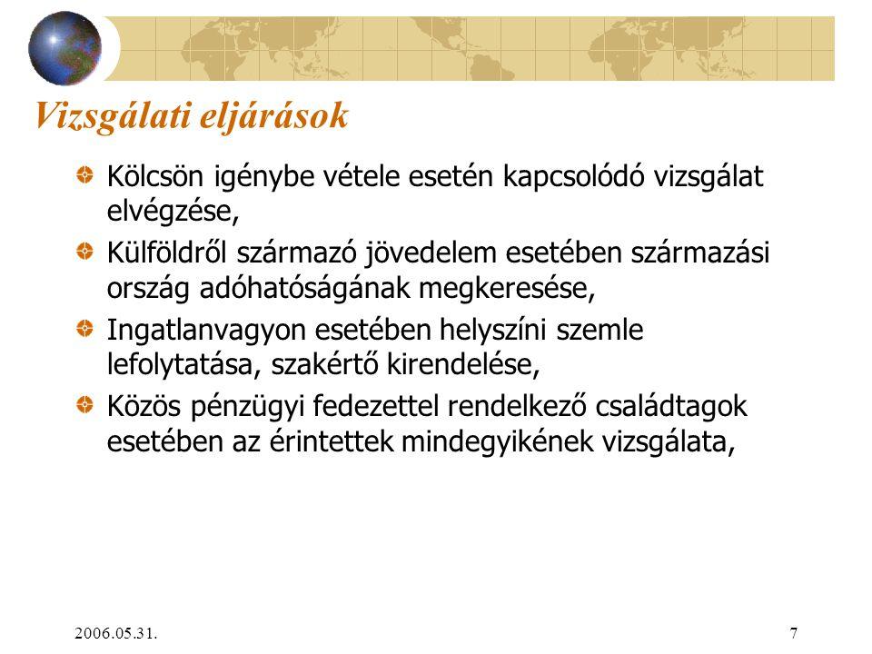2006.05.31.7 Vizsgálati eljárások Kölcsön igénybe vétele esetén kapcsolódó vizsgálat elvégzése, Külföldről származó jövedelem esetében származási orsz