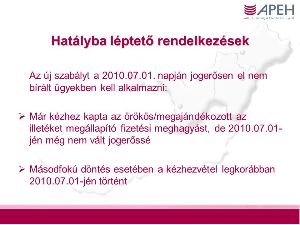 13 Hatályba léptető rendelkezések Az új szabályt a 2010.07.01. napján jogerősen el nem bírált ügyekben kell alkalmazni:  Már kézhez kapta az örökös/m