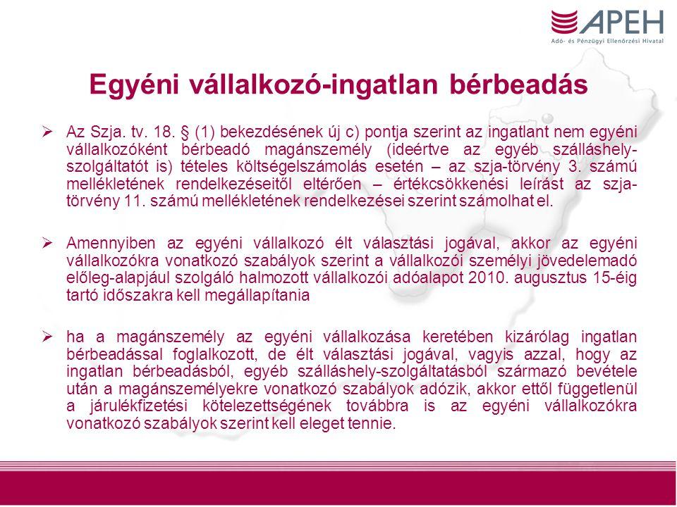 22 Egyéni vállalkozó-ingatlan bérbeadás  Az Szja. tv. 18. § (1) bekezdésének új c) pontja szerint az ingatlant nem egyéni vállalkozóként bérbeadó mag