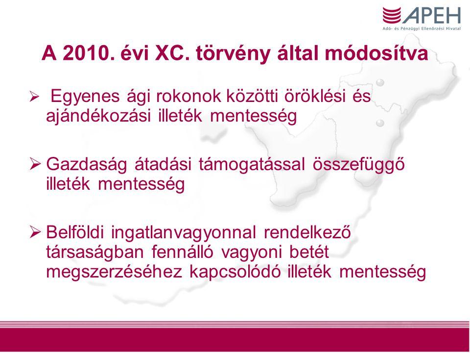 3 A 2010. évi XC. törvény által módosítva  Egyenes ági rokonok közötti öröklési és ajándékozási illeték mentesség  Gazdaság átadási támogatással öss