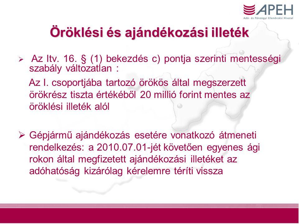 7 Öröklési és ajándékozási illeték  Az Itv. 16. § (1) bekezdés c) pontja szerinti mentességi szabály változatlan : Az I. csoportjába tartozó örökös á