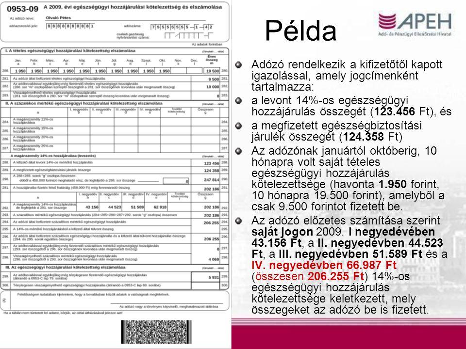 Adózó rendelkezik a kifizetőtől kapott igazolással, amely jogcímenként tartalmazza: a levont 14%-os egészségügyi hozzájárulás összegét (123.456 Ft), és a megfizetett egészségbiztosítási járulék összegét (124.358 Ft) Az adózónak januártól októberig, 10 hónapra volt saját tételes egészségügyi hozzájárulás kötelezettsége (havonta 1.950 forint, 10 hónapra 19.500 forint), amelyből a csak 9.500 forintot fizetett be.