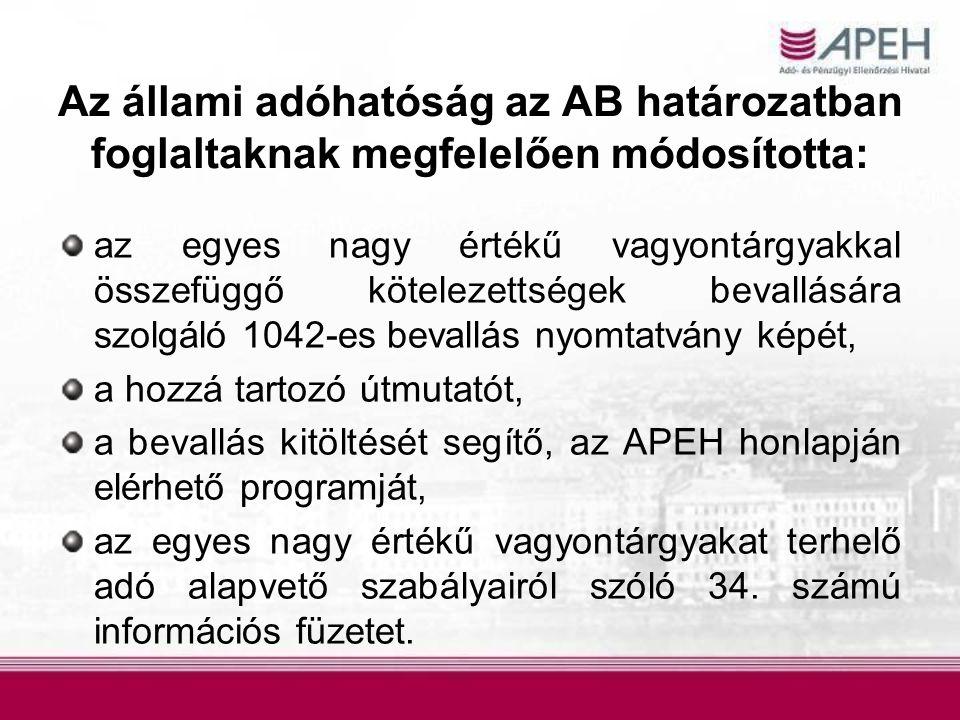 Az állami adóhatóság az AB határozatban foglaltaknak megfelelően módosította: az egyes nagy értékű vagyontárgyakkal összefüggő kötelezettségek bevallására szolgáló 1042-es bevallás nyomtatvány képét, a hozzá tartozó útmutatót, a bevallás kitöltését segítő, az APEH honlapján elérhető programját, az egyes nagy értékű vagyontárgyakat terhelő adó alapvető szabályairól szóló 34.