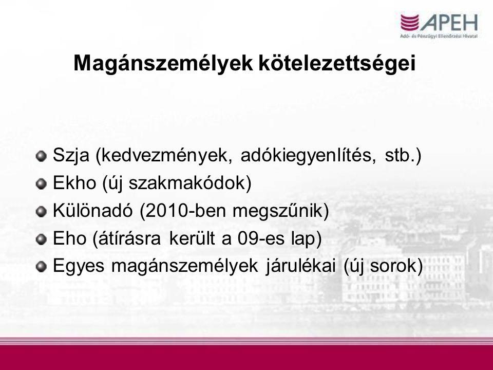Magánszemélyek kötelezettségei Szja (kedvezmények, adókiegyenlítés, stb.) Ekho (új szakmakódok) Különadó (2010-ben megszűnik) Eho (átírásra került a 0