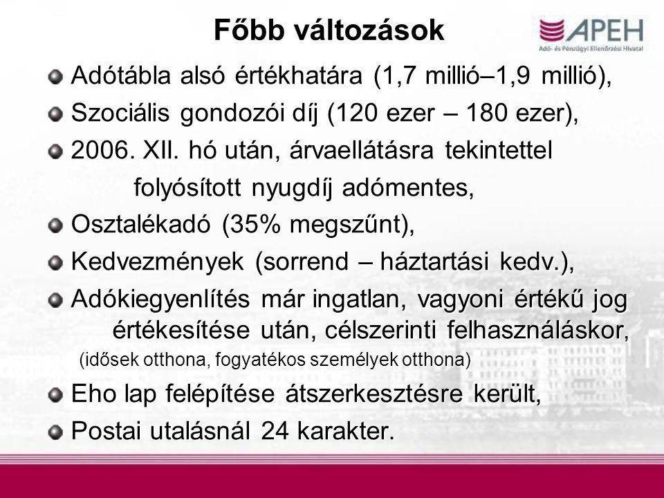 Főbb változások Adótábla alsó értékhatára (1,7 millió–1,9 millió), Adótábla alsó értékhatára (1,7 millió–1,9 millió), Szociális gondozói díj (120 ezer – 180 ezer), Szociális gondozói díj (120 ezer – 180 ezer), 2006.
