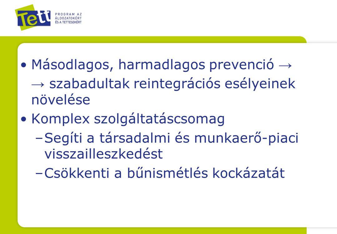 Másodlagos, harmadlagos prevenció → → szabadultak reintegrációs esélyeinek növelése Komplex szolgáltatáscsomag –Segíti a társadalmi és munkaerő-piaci visszailleszkedést –Csökkenti a bűnismétlés kockázatát