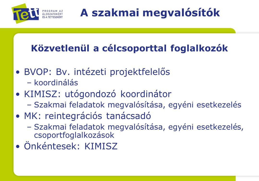 A szakmai megvalósítók Közvetlenül a célcsoporttal foglalkozók BVOP: Bv.