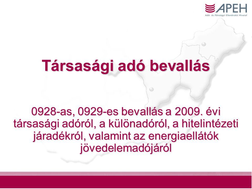 Társasági adó bevallás 0928-as, 0929-es bevallás a 2009.
