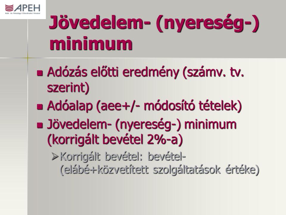 Jövedelem- (nyereség-) minimum Adózás előtti eredmény (számv. tv. szerint) Adózás előtti eredmény (számv. tv. szerint) Adóalap (aee+/- módosító tétele