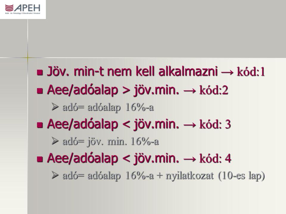 Jöv. min-t nem kell alkalmazni → kód:1 Jöv. min-t nem kell alkalmazni → kód:1 Aee/adóalap > jöv.min. → kód:2 Aee/adóalap > jöv.min. → kód:2  adó= adó