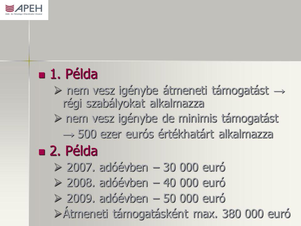 1. Példa 1. Példa  nem vesz igénybe átmeneti támogatást → régi szabályokat alkalmazza  nem vesz igénybe de minimis támogatást → 500 ezer eurós érték