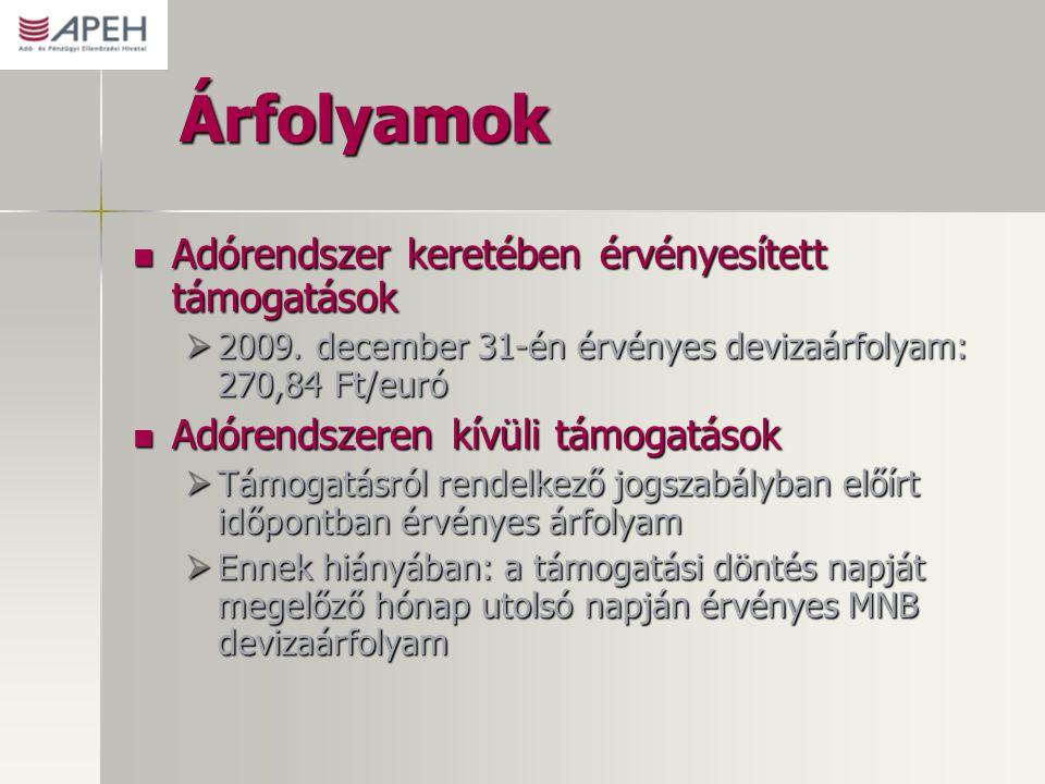 Árfolyamok Adórendszer keretében érvényesített támogatások Adórendszer keretében érvényesített támogatások  2009. december 31-én érvényes devizaárfol