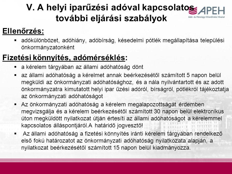 V. A helyi iparűzési adóval kapcsolatos további eljárási szabályok Ellenőrzés:  adókülönbözet, adóhiány, adóbírság, késedelmi pótlék megállapítása te
