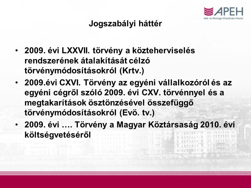 Jogszabályi háttér 2009. évi LXXVII. törvény a közteherviselés rendszerének átalakítását célzó törvénymódosításokról (Krtv.) 2009.évi CXVI. Törvény az