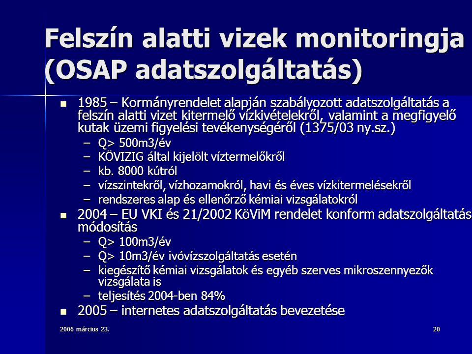 2006 március 23.20 Felszín alatti vizek monitoringja (OSAP adatszolgáltatás) 1985 – Kormányrendelet alapján szabályozott adatszolgáltatás a felszín alatti vizet kitermelő vízkivételekről, valamint a megfigyelő kutak üzemi figyelési tevékenységéről (1375/03 ny.sz.) 1985 – Kormányrendelet alapján szabályozott adatszolgáltatás a felszín alatti vizet kitermelő vízkivételekről, valamint a megfigyelő kutak üzemi figyelési tevékenységéről (1375/03 ny.sz.) –Q> 500m3/év –KÖVIZIG által kijelölt víztermelőkről –kb.