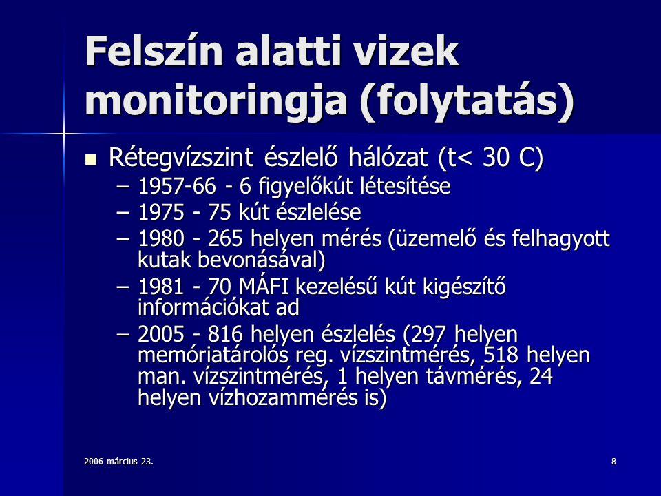2006 március 23.8 Felszín alatti vizek monitoringja (folytatás) Rétegvízszint észlelő hálózat (t< 30 C) Rétegvízszint észlelő hálózat (t< 30 C) –1957-66 - 6 figyelőkút létesítése –1975 - 75 kút észlelése –1980 - 265 helyen mérés (üzemelő és felhagyott kutak bevonásával) –1981 - 70 MÁFI kezelésű kút kigészítő információkat ad –2005 - 816 helyen észlelés (297 helyen memóriatárolós reg.