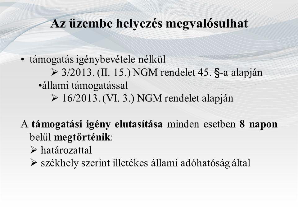 Az üzembe helyezés megvalósulhat támogatás igénybevétele nélkül  3/2013. (II. 15.) NGM rendelet 45. §-a alapján állami támogatással  16/2013. (VI. 3