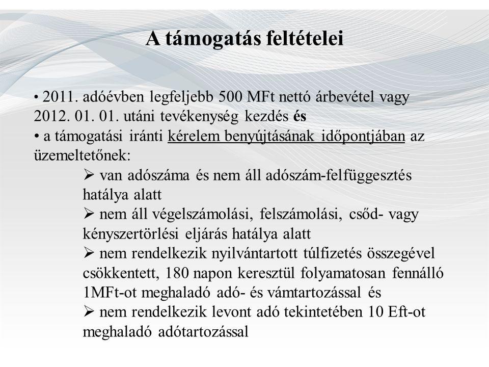A támogatás feltételei 2011. adóévben legfeljebb 500 MFt nettó árbevétel vagy 2012. 01. 01. utáni tevékenység kezdés és a támogatási iránti kérelem be