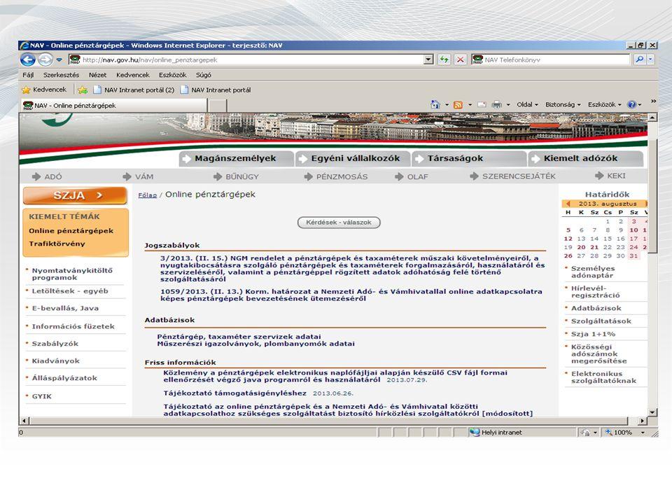 Az online adatkapcsolatra képes pénztárgépek bevezetésének ütemezése 1.