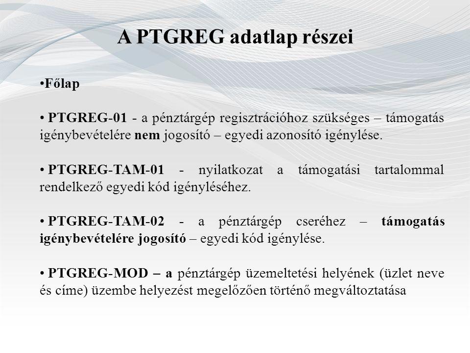 A PTGREG adatlap részei Főlap PTGREG-01 - a pénztárgép regisztrációhoz szükséges – támogatás igénybevételére nem jogosító – egyedi azonosító igénylése
