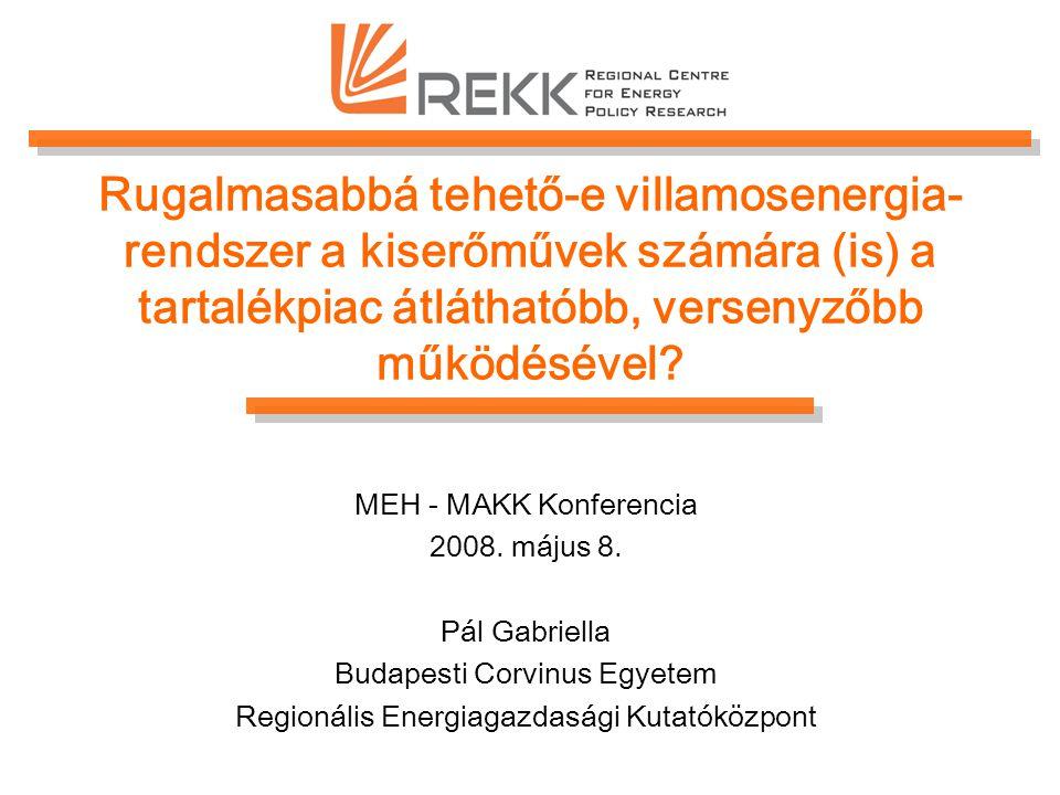 Rugalmasabbá tehető-e villamosenergia- rendszer a kiserőművek számára (is) a tartalékpiac átláthatóbb, versenyzőbb működésével? MEH - MAKK Konferencia