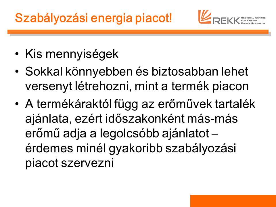Szabályozási energia piacot! Kis mennyiségek Sokkal könnyebben és biztosabban lehet versenyt létrehozni, mint a termék piacon A termékáraktól függ az