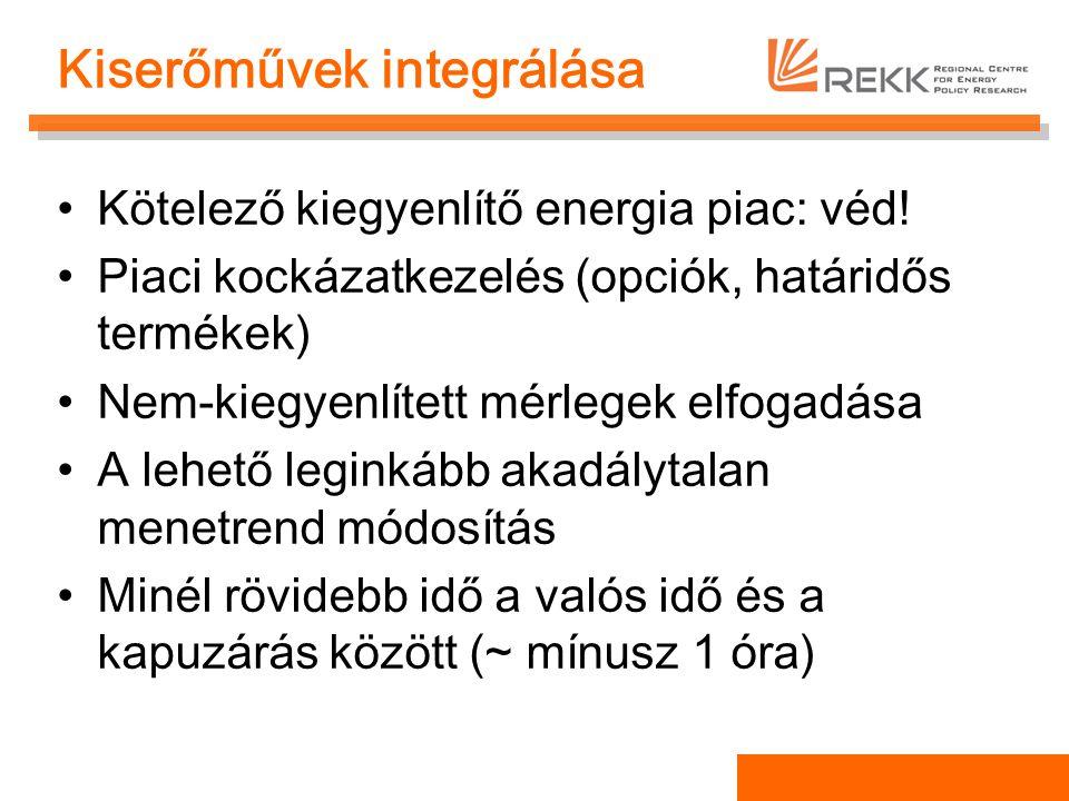 Kiserőművek integrálása Kötelező kiegyenlítő energia piac: véd! Piaci kockázatkezelés (opciók, határidős termékek) Nem-kiegyenlített mérlegek elfogadá