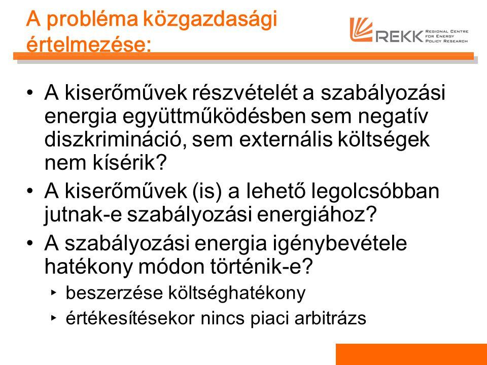 A probléma közgazdasági értelmezése: A kiserőművek részvételét a szabályozási energia együttműködésben sem negatív diszkrimináció, sem externális költ