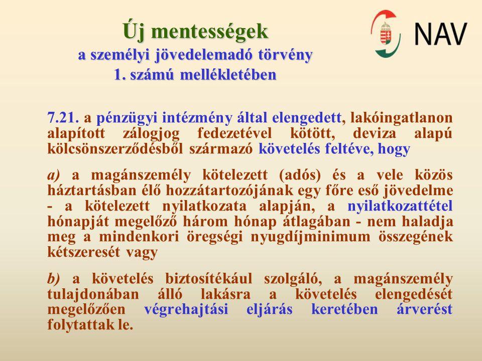 Új mentességek a személyi jövedelemadó törvény 1.számú mellékletében 7.21.