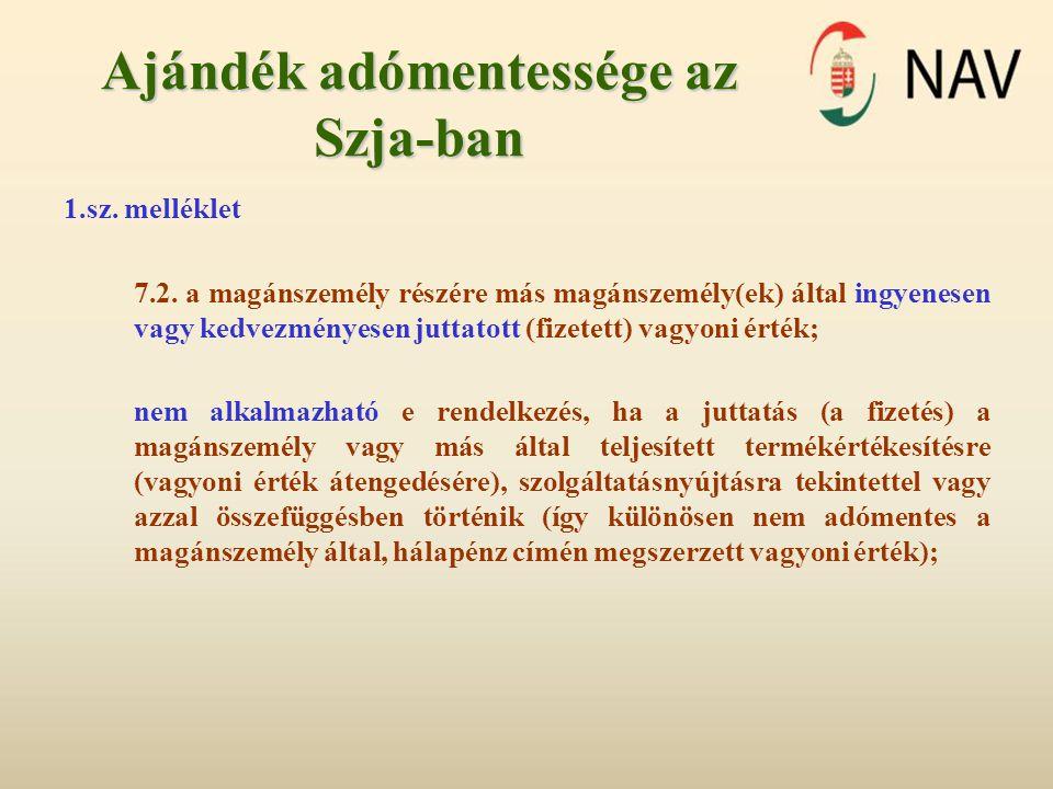 Ajándék adómentessége az Szja-ban 1.sz. melléklet 7.2. a magánszemély részére más magánszemély(ek) által ingyenesen vagy kedvezményesen juttatott (fiz