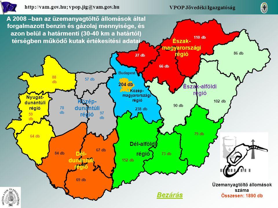 A Borsod-Abaúj-Zemplén megye területén az üzemanyagtöltő állomások által forgalmazott benzin és gázolaj mennyisége, és azon belül a határmenti (30-40 km a határtól) térségben működő kutak értékesítési adatai (havi bontásban fajtánként) - Benzin - Gázolaj - Határtól 30-40 km körzetben, 33 db üzemanyagtöltő állomás által forgalmazott üzemanyag mennyiség Vissza a régióhoz Borsod-Abaúj- Zemplén VPOP Jövedéki Igazgatóság http://vam.gov.hu; vpop.jig@vam.gov.hu 110 db számokban