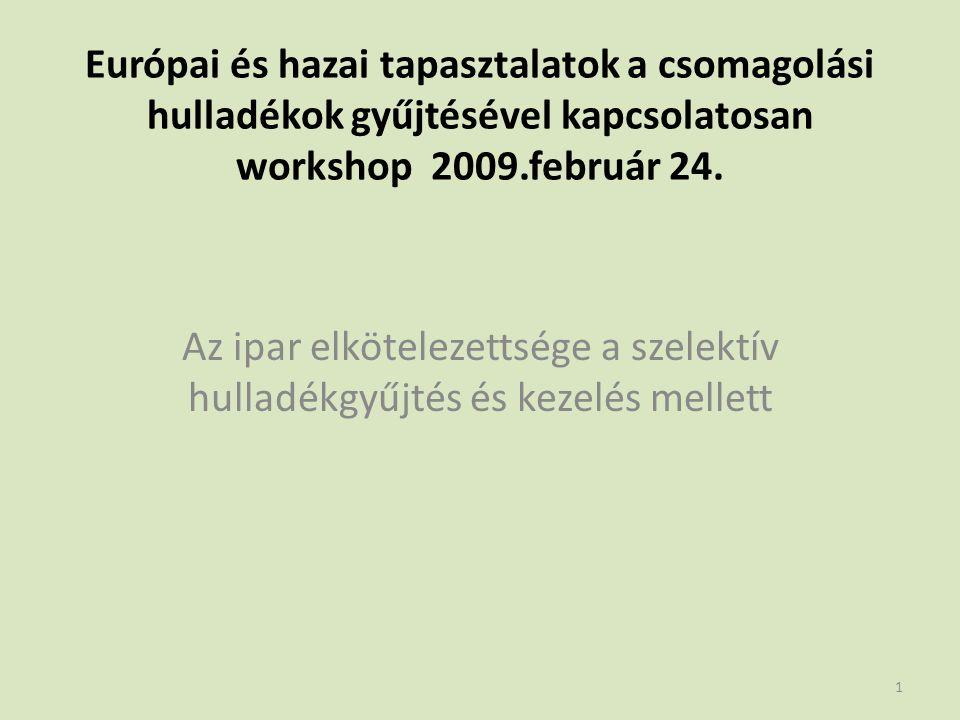 Európai és hazai tapasztalatok a csomagolási hulladékok gyűjtésével kapcsolatosan workshop 2009.február 24.