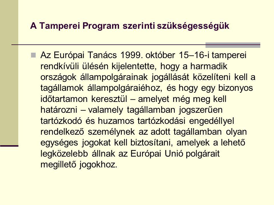A Tamperei Program szerinti szükségességük Az Európai Tanács 1999. október 15–16-i tamperei rendkívüli ülésén kijelentette, hogy a harmadik országok á