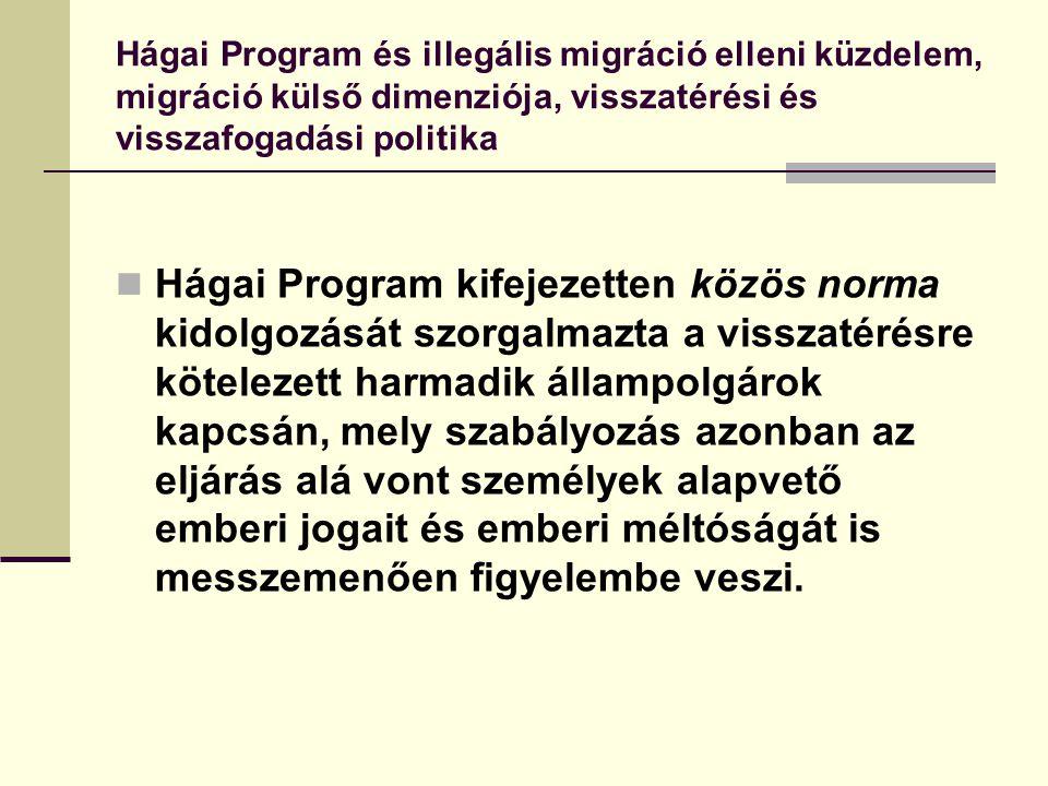 Hágai Program és illegális migráció elleni küzdelem, migráció külső dimenziója, visszatérési és visszafogadási politika Hágai Program kifejezetten köz