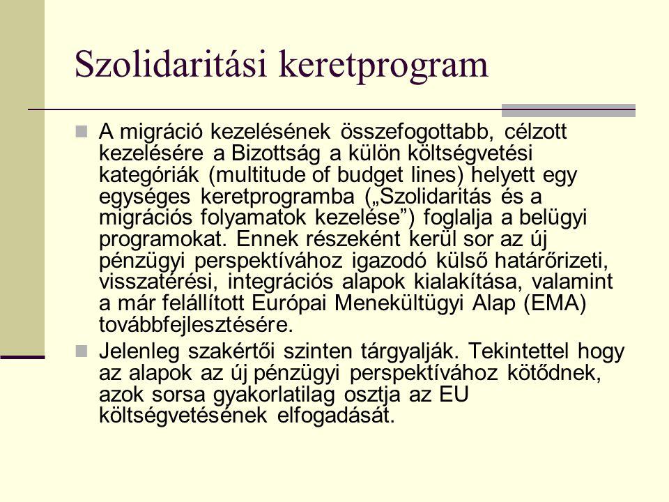 Szolidaritási keretprogram A migráció kezelésének összefogottabb, célzott kezelésére a Bizottság a külön költségvetési kategóriák (multitude of budget