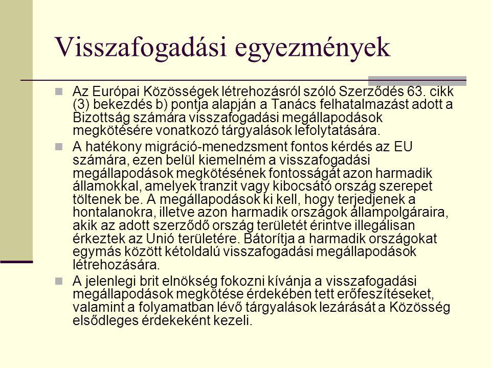 Visszafogadási egyezmények Az Európai Közösségek létrehozásról szóló Szerződés 63. cikk (3) bekezdés b) pontja alapján a Tanács felhatalmazást adott a