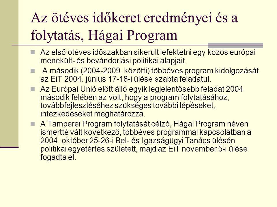 Az ötéves időkeret eredményei és a folytatás, Hágai Program Az első ötéves időszakban sikerült lefektetni egy közös európai menekült- és bevándorlási