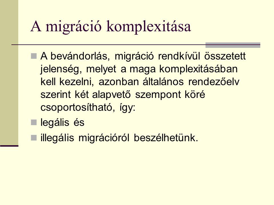 A migráció komplexitása A bevándorlás, migráció rendkívül összetett jelenség, melyet a maga komplexitásában kell kezelni, azonban általános rendezőelv