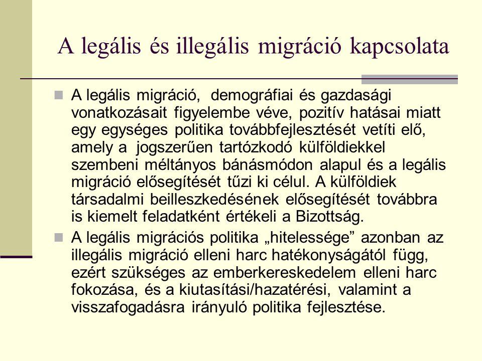 A legális és illegális migráció kapcsolata A legális migráció, demográfiai és gazdasági vonatkozásait figyelembe véve, pozitív hatásai miatt egy egysé