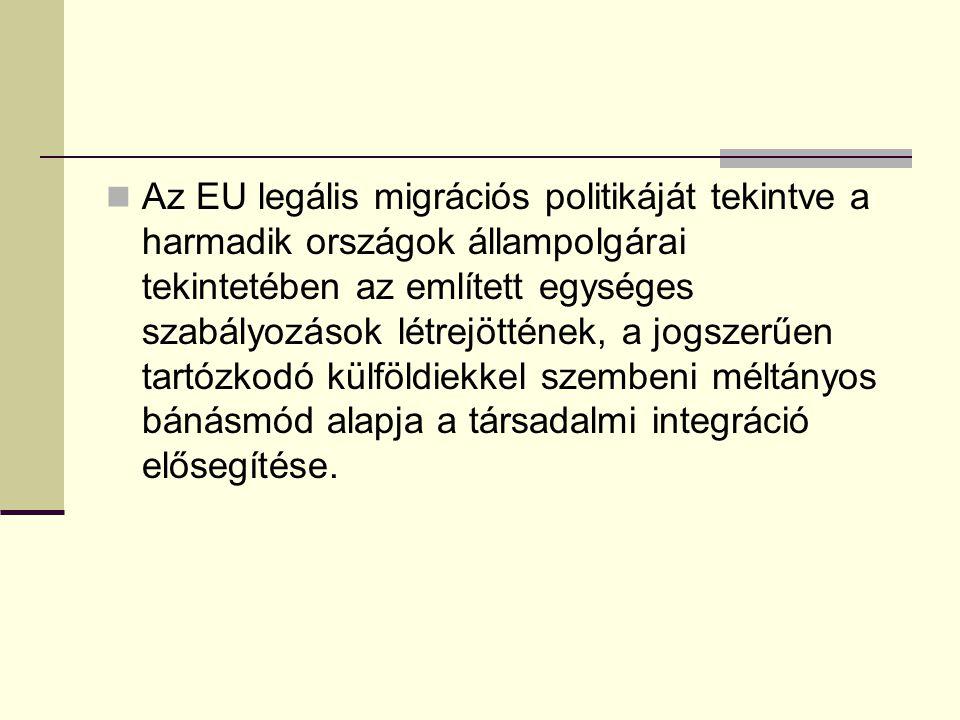 Az EU legális migrációs politikáját tekintve a harmadik országok állampolgárai tekintetében az említett egységes szabályozások létrejöttének, a jogsze