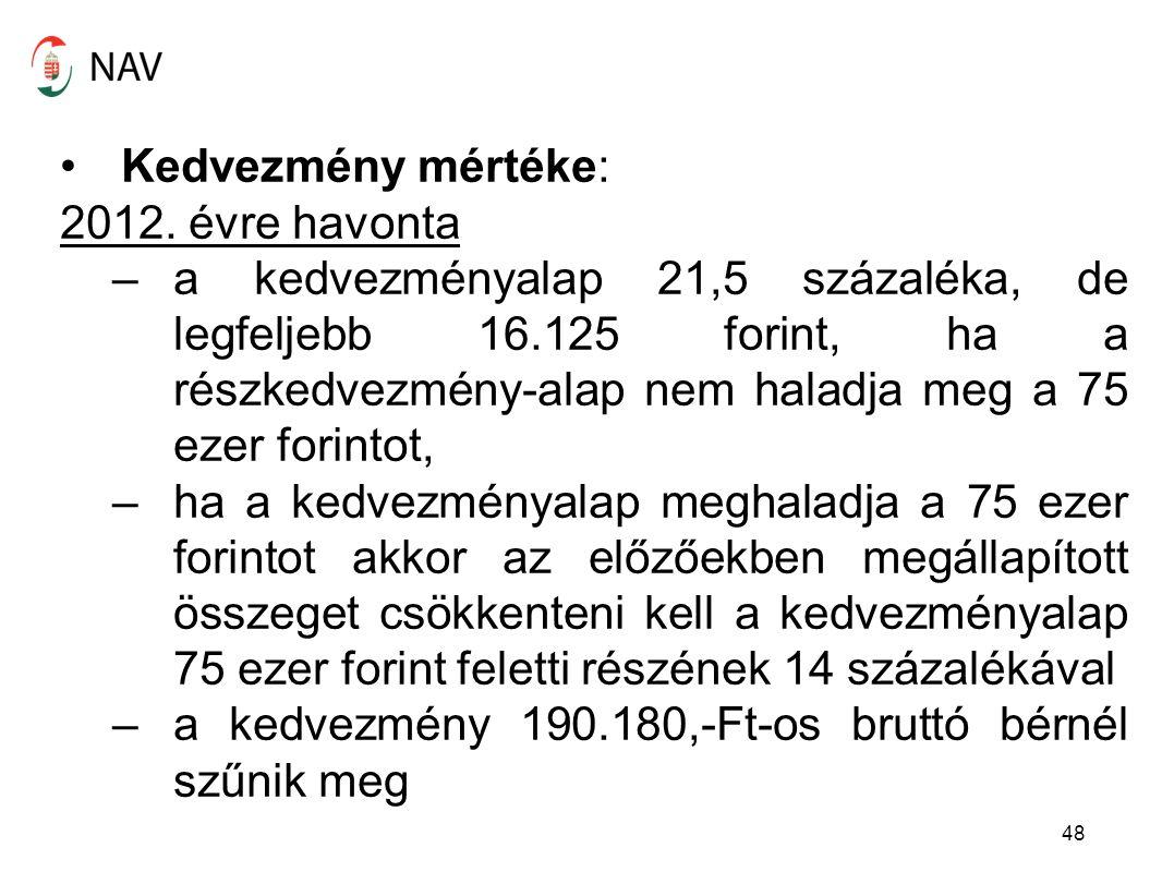 Kedvezmény mértéke: 2012. évre havonta –a kedvezményalap 21,5 százaléka, de legfeljebb 16.125 forint, ha a részkedvezmény-alap nem haladja meg a 75 ez